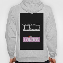 Fly me to London LHR - England United Kingdom Heathrow International Airport Code Runway Map  Hoody