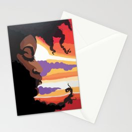 Afro Moon Stationery Cards