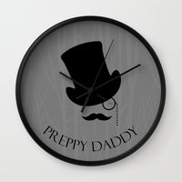 preppy Wall Clocks featuring Preppy Daddy by Moricettte