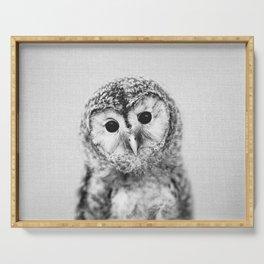 Baby Owl - Black & White Serving Tray