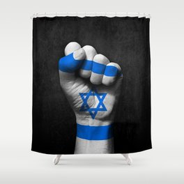Israeli Flag on a Raised Clenched Fist Shower Curtain