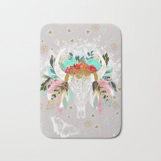 Fantasy boho skull Bath Mat