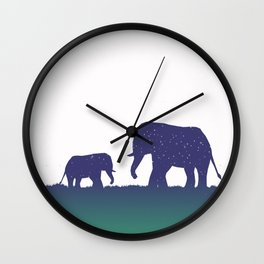 Elephant Silhouettes (Alternate)  Wall Clock