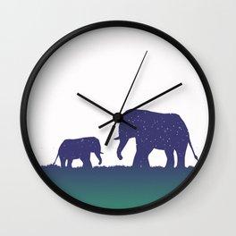 Elephant Silhouettes (Alternate)  Wall Clock