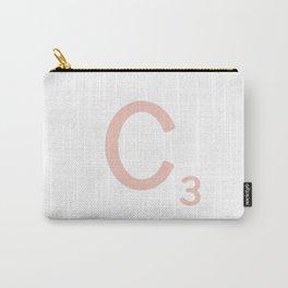 Pink Scrabble Letter C - Scrabble Tile Art Carry-All Pouch