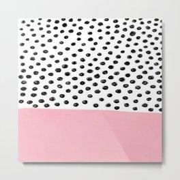 Pink Black Dalmation Polka Dots Metal Print