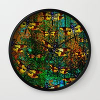 dragonfly Wall Clocks featuring Dragonfly  by Saundra Myles
