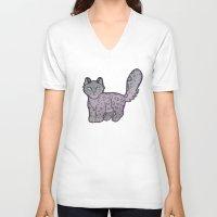 snow leopard V-neck T-shirts featuring Snow Leopard by adorkablyfeline