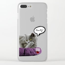 DRUNKY CAT Clear iPhone Case