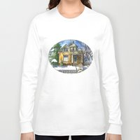 matty healy Long Sleeve T-shirts featuring The Little Brown House by Shelley Ylst Art