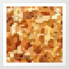 Modern terrazzo style orange camouflage pattern Art Print