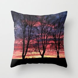 A Winter New England Sunset Throw Pillow