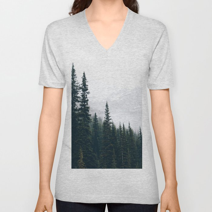 Evergreens in the fog Unisex V-Neck