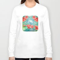 poppies Long Sleeve T-shirts featuring Poppies by LudaNayvelt