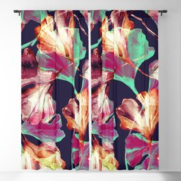 Watercolor autumn ginkgo leaves seamless pattern Blackout Curtain