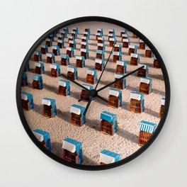 Social distance at the beach Wall Clock
