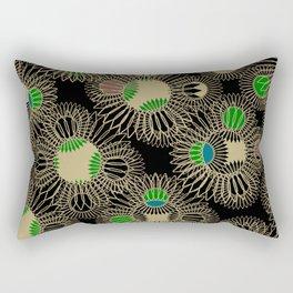 Black Spirallo Digital Print Rectangular Pillow