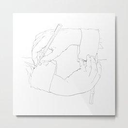 Drawing Hands - Line art from Escher Metal Print