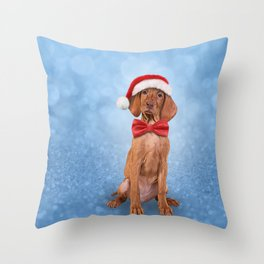 Drawing funny Vizsla pointer in red hat of Santa Claus Throw Pillow