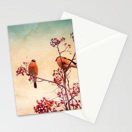 Bullfinch eat red rowan berries Stationery Cards