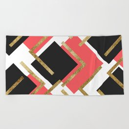 Chic Coral Pink Black and Gold Square Geometric Beach Towel