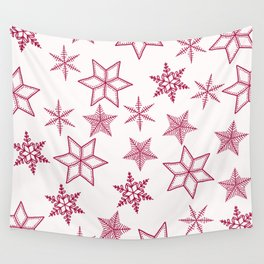 Red Snowflakes On White Background Wall Tapestry