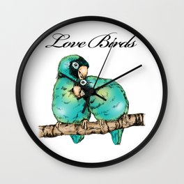 Colorful Love Birds Illustration Wall Clock