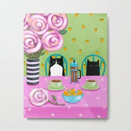 French Press Coffee Cats Metal Print