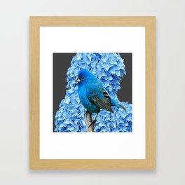 BLUE BIRD & BLUE HYDRANGEAS GREY ART Framed Art Print
