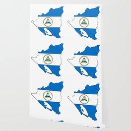 Nicaragua Map with Nicaraguan Flag Wallpaper