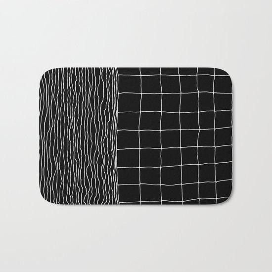 Hand Drawn Grid Bath Mat