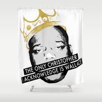 biggie smalls Shower Curtains featuring Biggie by JulieAaland