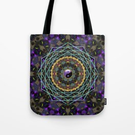 Purple Yin Yang Sacred Geometry Fractals Tote Bag