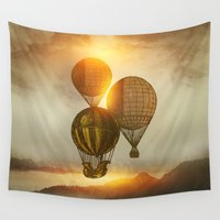 trip Wall Tapestries featuring A Trip down the Sunset by Viviana Gonzalez