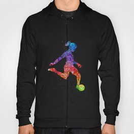 Girl Soccer Player Watercolor Art Colorful Sports Gift Hoody