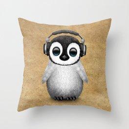 Cute Baby Penguin Dj Wearing Headphones Throw Pillow
