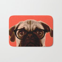 Geek Pug in Red Background Bath Mat