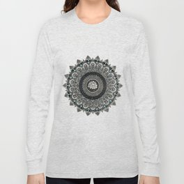 Black and White Flower Mandala with Blue Jewels Long Sleeve T-shirt