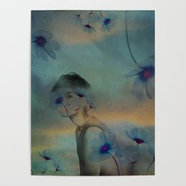 Woman hidden in a world of flowers Poster