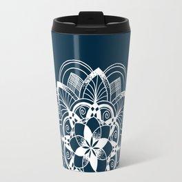 Lotus white mandala on blue Travel Mug