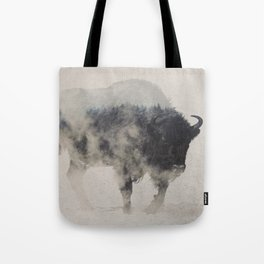 Bison In The Fog Tote Bag
