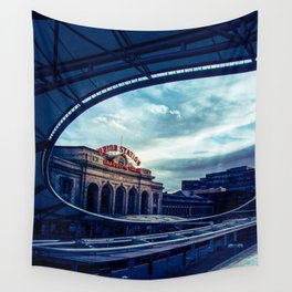 Union Station // Downtown Denver Travel & Train Station Retro Red Sign City Scape Photography Wall Tapestry
