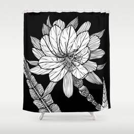 Orchid Cactus in Black and White Shower Curtain