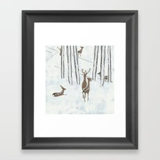 Deers in the snow Framed Art Print