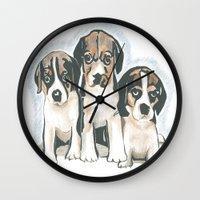 puppies Wall Clocks featuring Puppies 1 by JennFolds5 * Jennifer Delamar-Goss