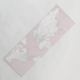 World map, highly detailed in dusty pink and white, square Yoga Mat