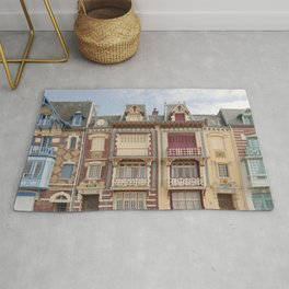 Colourful houses I Le Tréport, Picardy, France I Vintage pastel tones I Photography Rug