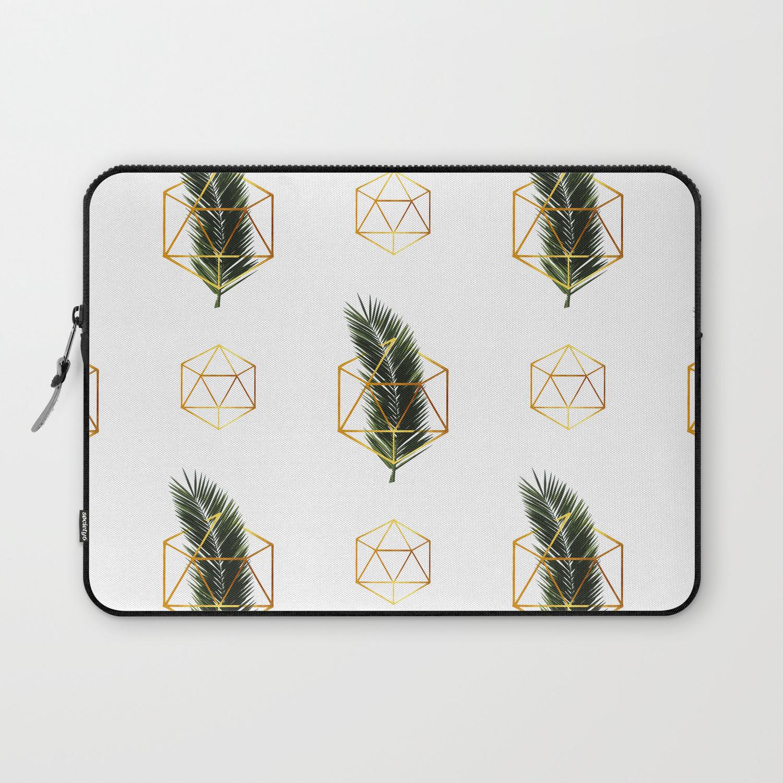 Tropical Palm Leaf Pattern Gold Geometric Pattern 1 Tropical Wall Art Palm Leaf And Gold Laptop Sleeve By Grafiikka Society6