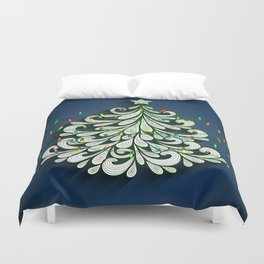 Christmas tree with colorful lights Duvet Cover