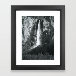 Bridalveil Falls. Yosemite California in Black and White Framed Art Print